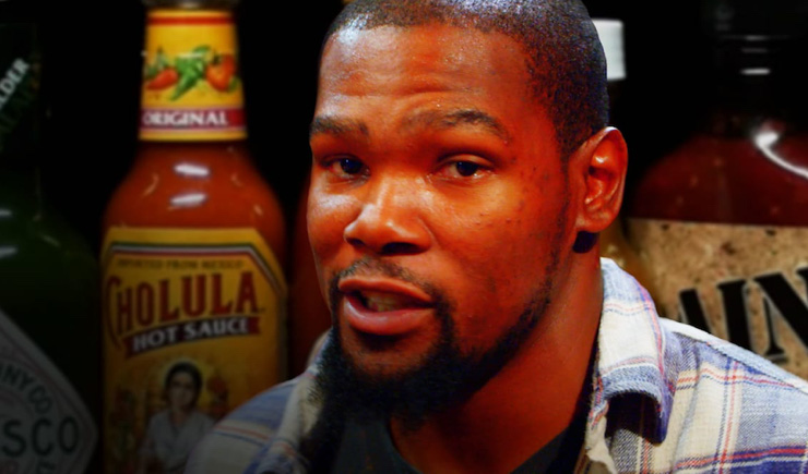 Kevin Durant Sweats It Out During the 'Hot Ones' Challenge